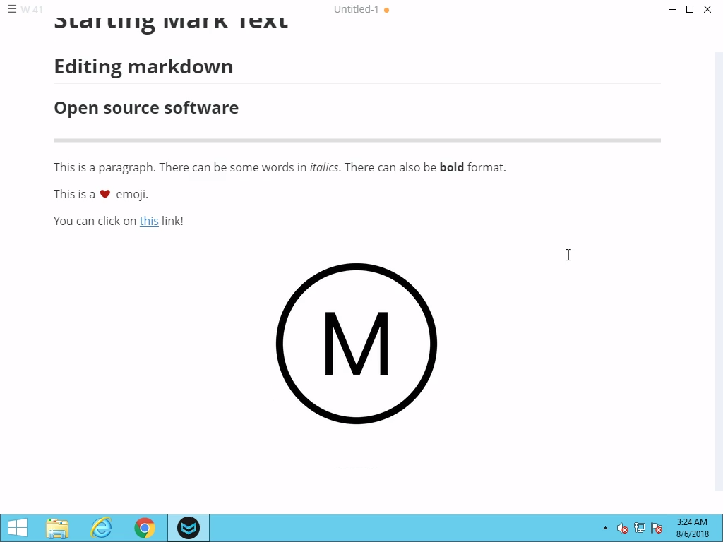 Markdown editing and Mark Text features